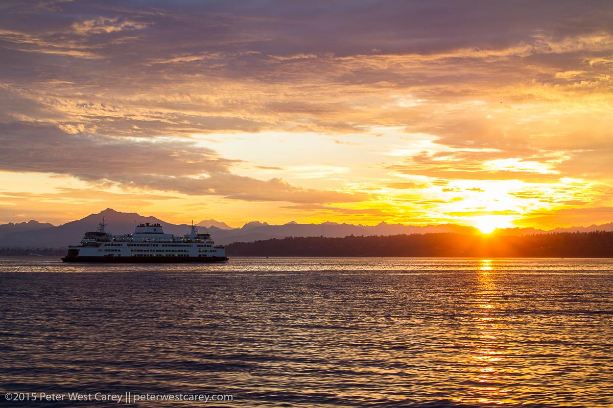 Third @wsferries #WSFcontest entry: The M/V Tokitae heads toward Mukilteo as the sun rises over the Cascade Mountains http://t.co/0WTOd9Y4kD