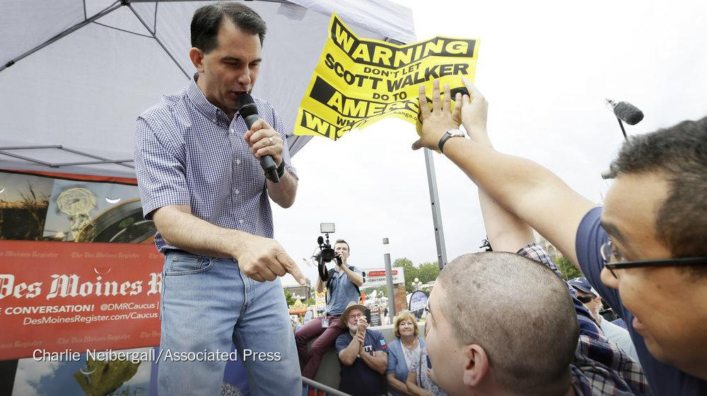 Scott Walker owns and destroys union thug heckler VIDEO