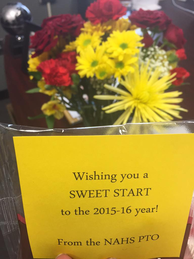 """Our PTO blessed us with flowers and cookies this morning. What a """"sweet"""" gesture! #naedchat #NAHSCommUNITY http://t.co/0Q3dEQOUhC"""