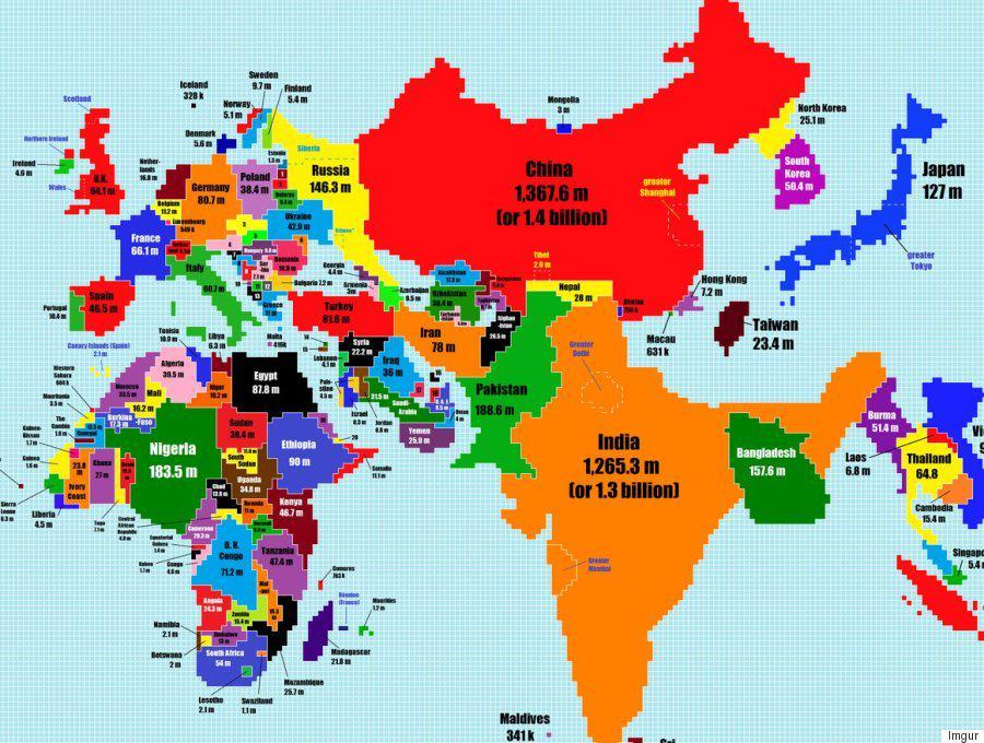 面白い。中国とインドが異常にでかく、ロシアがちっちゃい。そして日本は意外とでかいという発見。/人口の多さで世界地図を描き変えたらこうなった(画像) huff.to/1DZd6op pic.twitter.com/KPx6I4zByf