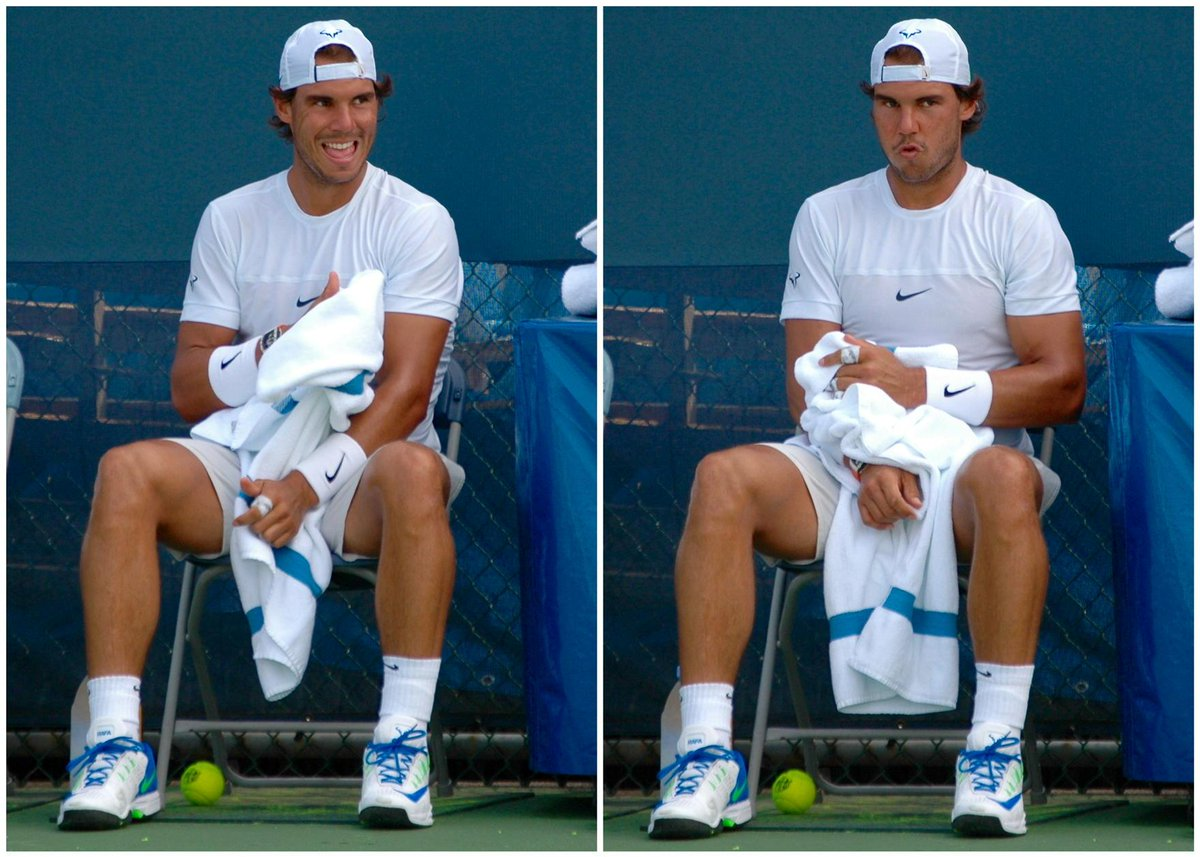 The faces of @RafaelNadal during break in training #CincyTennis http://t.co/e8gdhiHyt9