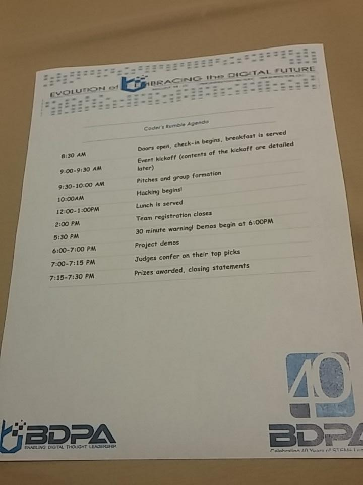 We are up bright and early #bdpacon15 Coder's Rumble Agenda . Kickoff at 9! http://t.co/d1hAXL5gB2
