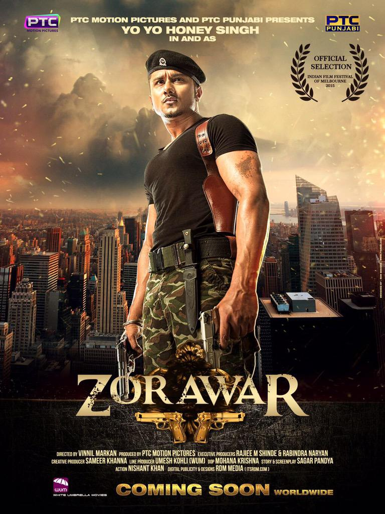 Here is the first official poster of ZORAWAR. :) @VinnilM @PTC_Network @punjabigrooves @asliyoyo @RAJIEEMSHINDE http://t.co/Udn0LPfzRV