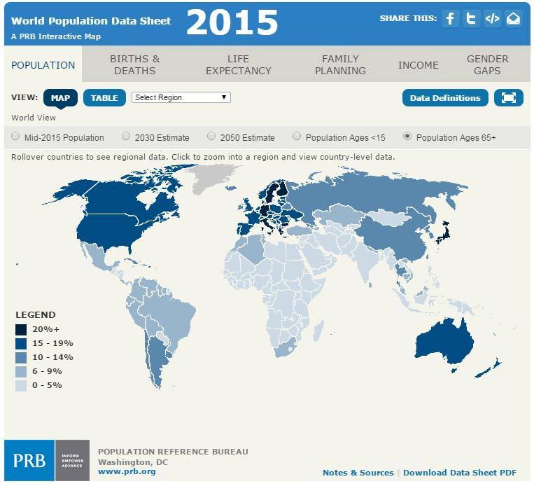 PRB On Twitter MT DemografiaCSIC World Population Ages - 2015 world population interactive map