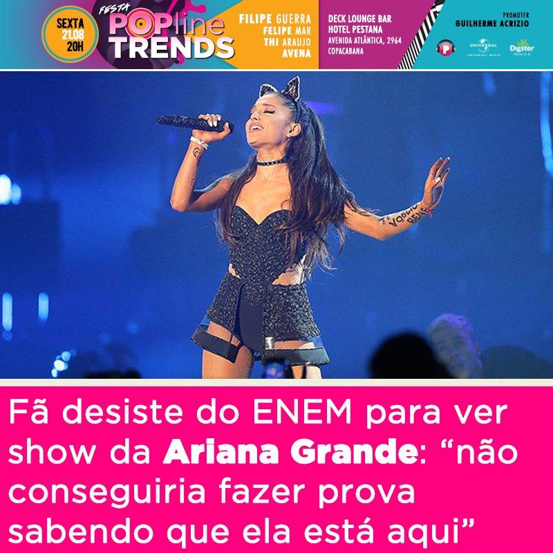 Show de Ariana Grande será no mesmo dia do Enem e fãs estão desesperados