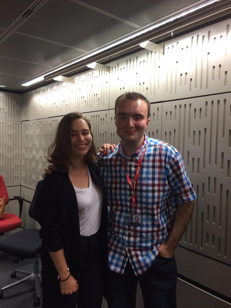 Today was AWESOME. I interviewed Game of Thrones star Emilia Clarke! She was lovely! Oh Khaleesi,I bow down to thee.. http://t.co/YabGvcwkIR