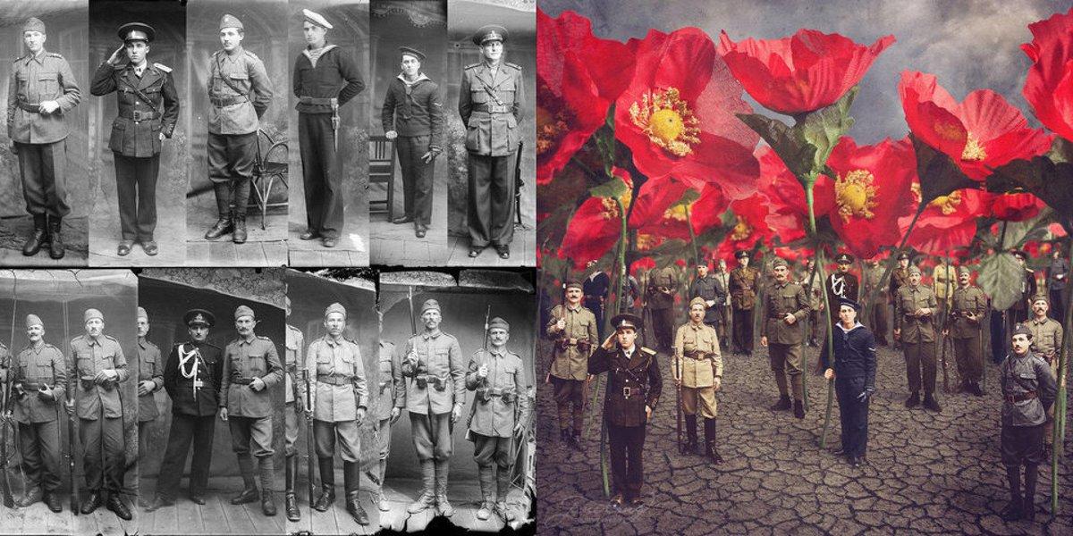 Fotografías de la Primera Guerra Mundial reinventadas por una artista  australiana http   t 0b659225346d