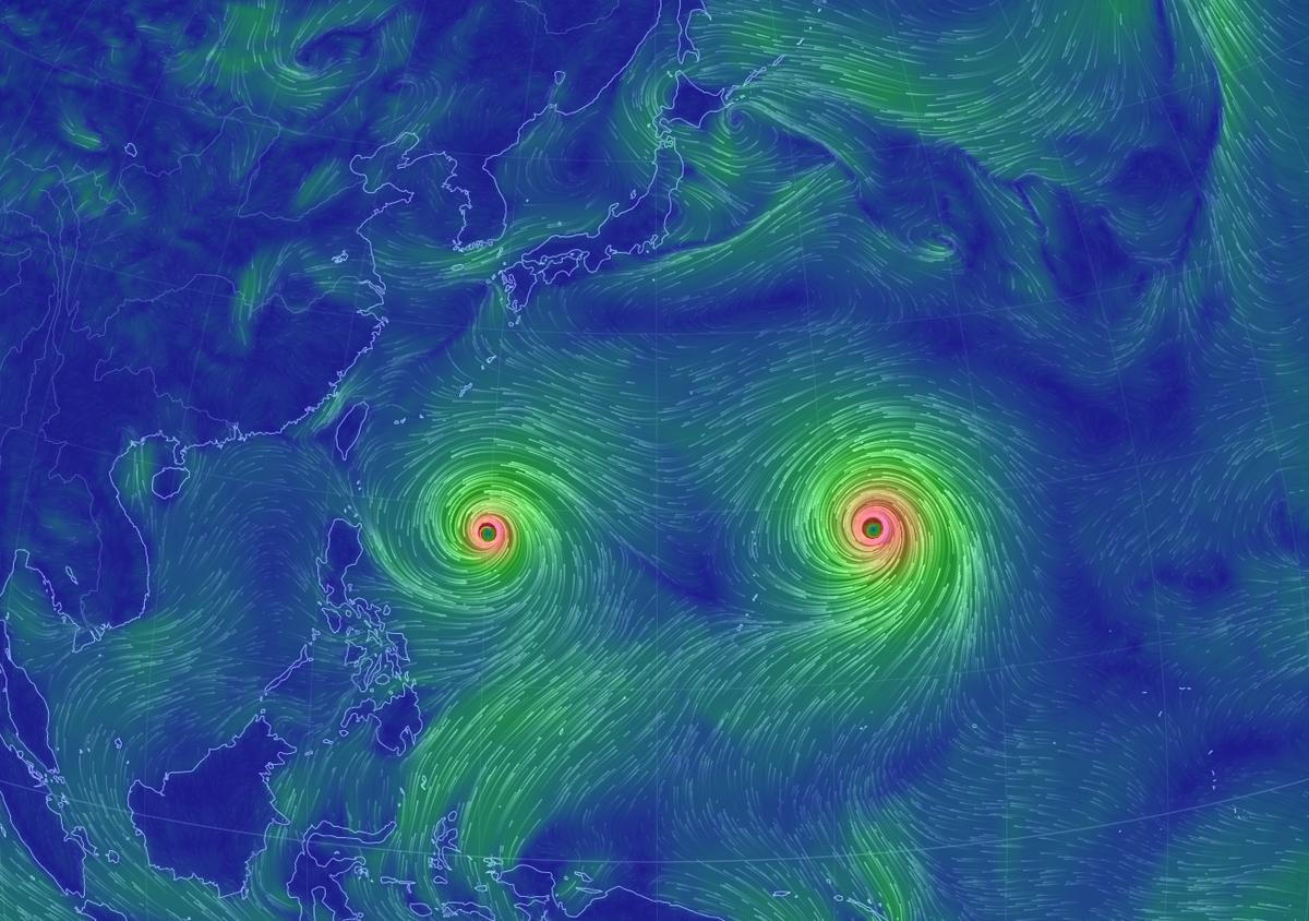 台風15号と16号だけど、このサイトで見ると、実に禍々しい・・・。 http://t.co/91qKbkwf66 http://t.co/vEobwvt447