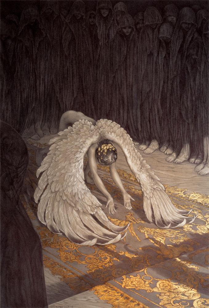 レベッカ・ヤノフスカヤによる作品。カナダのイラストレーター。ボールペンと金箔で、神話の世界を構築しています。