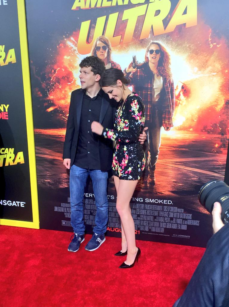 One of my favorite shots of the night was when K Stew just started cracking up while posing with Jesse #AmericanUltra http://t.co/Al7QVr2H39