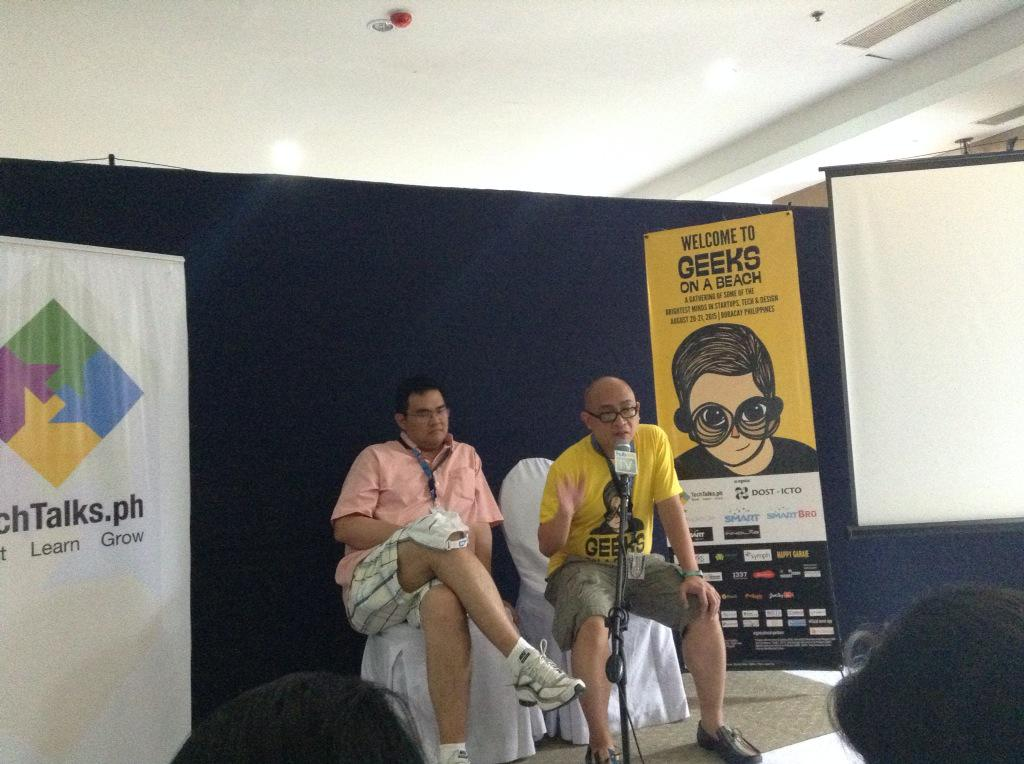 Smart Devnet chief developer Paul Pajo (left): In startup ecosystem, failure is a currency for success #GeeksOnABeach http://t.co/tZkJcp6vH2