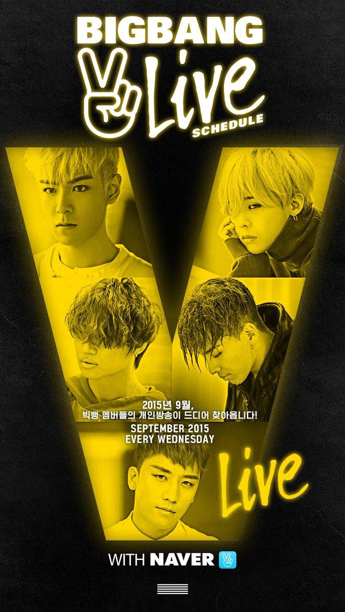 [BIGBANG - 'V LIVE' SCHEDULE] originally posted by http://t.co/XZQ3IOI9MY #BIGBANG #빅뱅 #VLIVE #Vapp