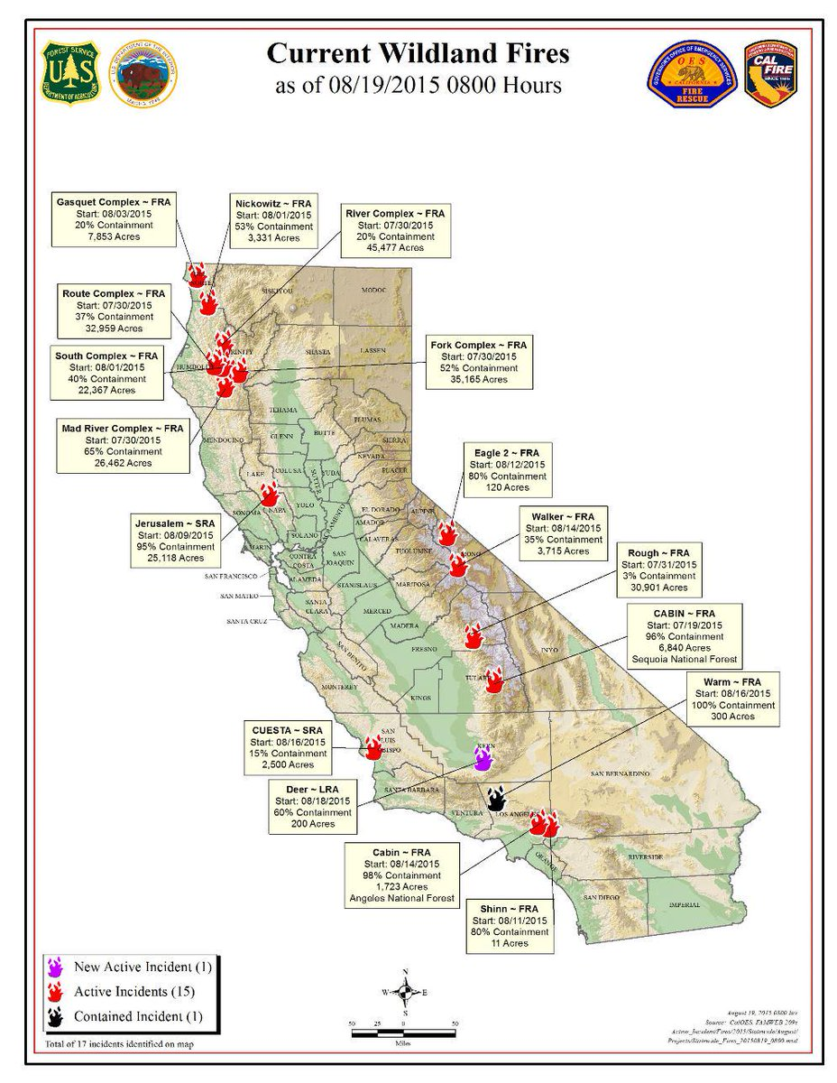 Usfs Fire California On Twitter Calif Wildfire Activity For August - Us-wildfire-activity-map