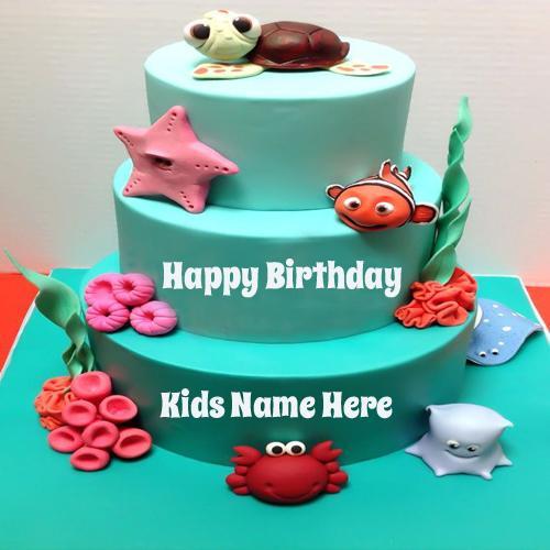 Write Name On Nemo Theme Party Birthday Cake For Kids Cakenamepix Namepix