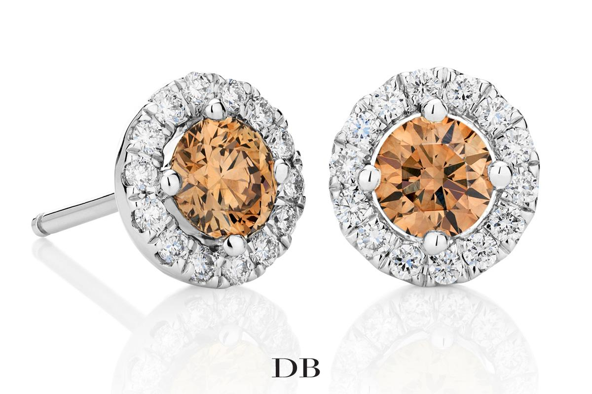 0373f3386 Our Aura Champagne Diamond Stud Earrings have been cut to shine with  maximum sparkle ...