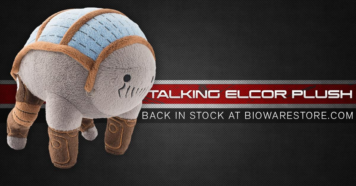"""""""Excitedly: The My Talking Elcor plush is back in stock in the @BioWare Store."""" http://t.co/wNtEgONxSR http://t.co/wljjH2luGP"""