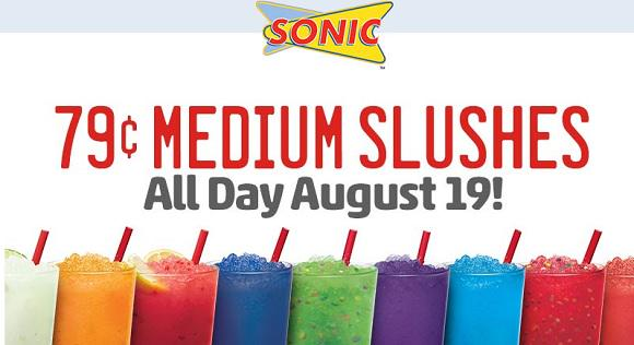 Today only, August 19!! 79-cent Medium slushes at @sonicdrivein. http://t.co/kl4gv9Ioc3