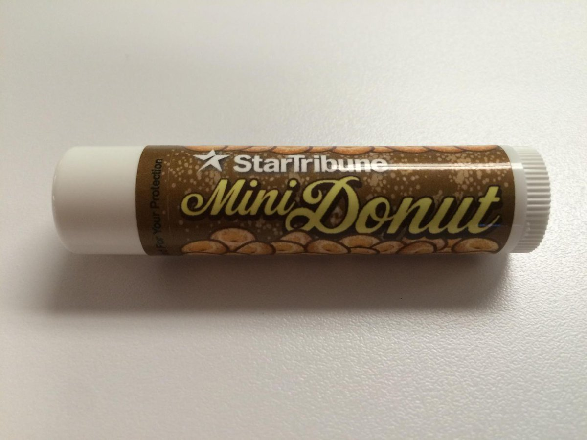 Here's the @Startribune freebie at the @mnstatefair this year. Yes, mini donut flavored lip balm. #mnstatefair http://t.co/zEs1bzlcmt