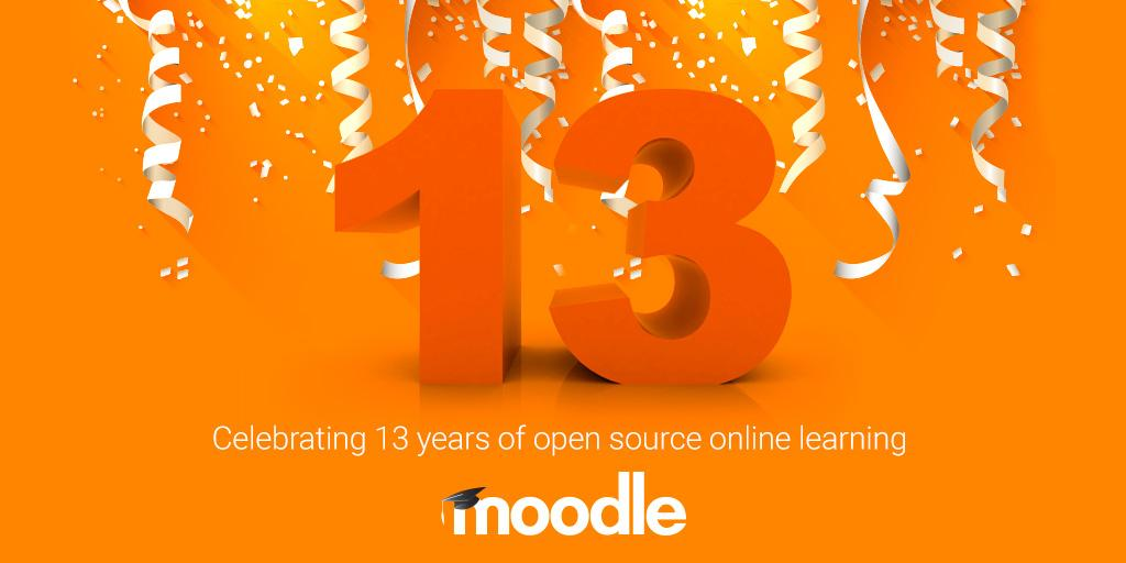 Congratulations to 13 years of #Moodle! Here's to many more adventures with our community! #happybirthday @moodler http://t.co/ugWmB03rrZ