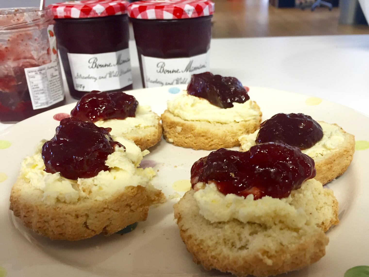 Afternoon tea  (N.B. Using gluten free flour makes scones taste so, so much worse) http://t.co/phBhzw0cWV
