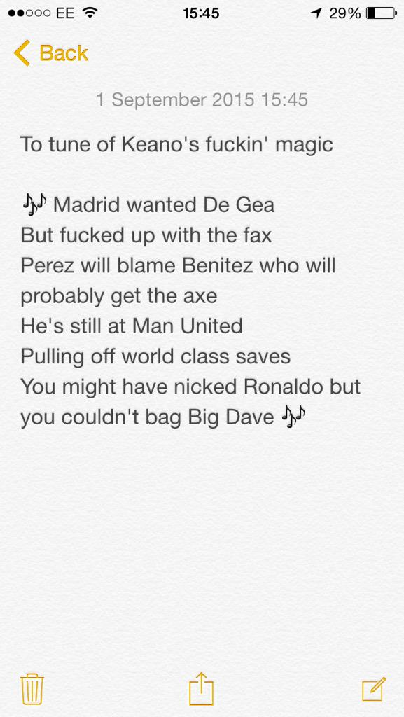 New #DeGea chant if he ends up staying at #MUFC #DeadIineDay http://t.co/0GIvHp0FGt