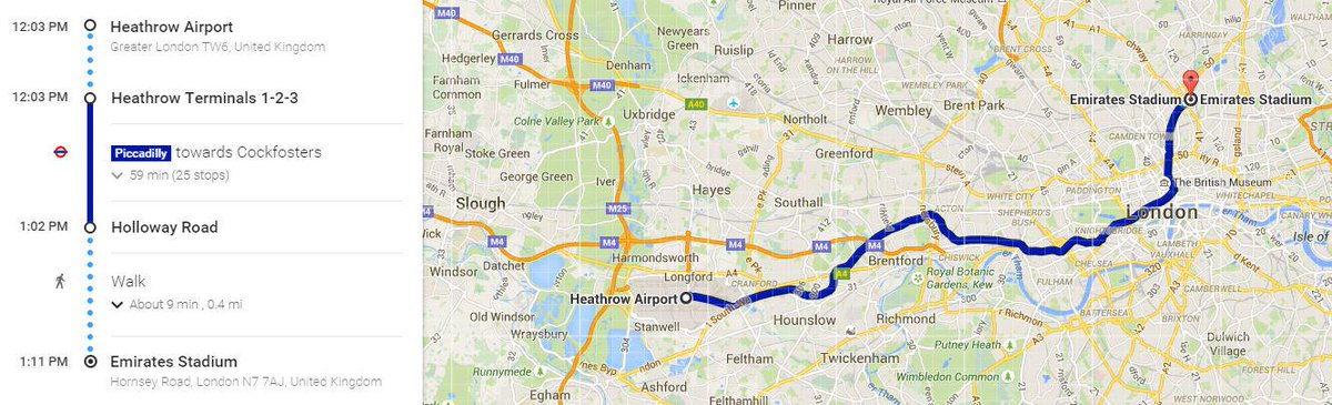 We've planned the journey from #Heathrow to the Emirates for @Arsenal's new striker…if one ever arrives #DeadlineDay http://t.co/YFyMVzt90Z
