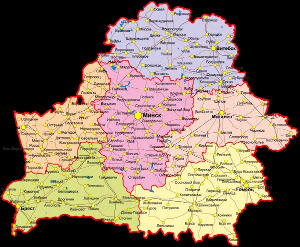 карта белоруссии и украины с городами