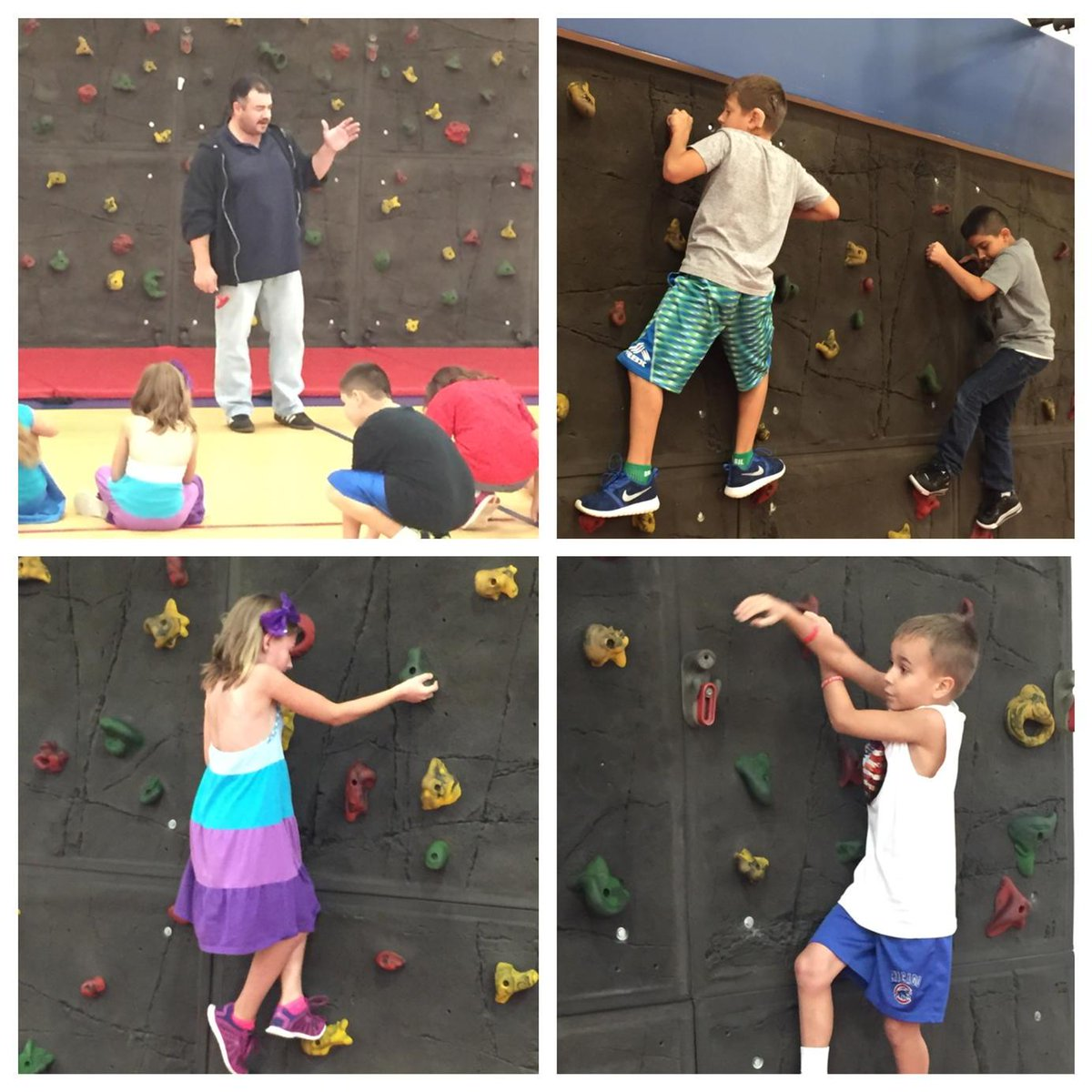 After learning how to stay safe, 3rd graders are excited to use the climbing wall in P.E.! #wdsd7 #justkeepclimbing http://t.co/skgkmz8Ayt