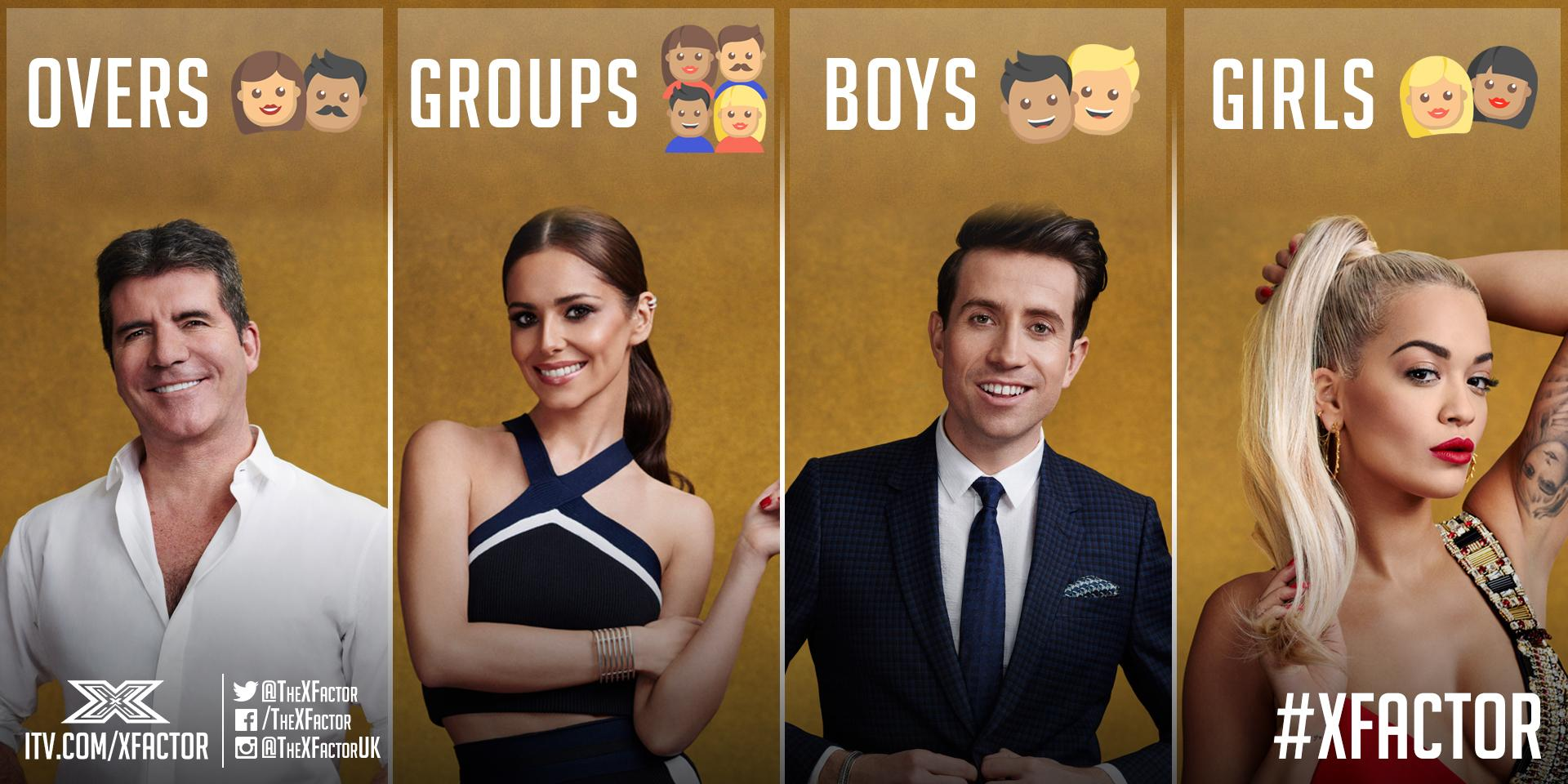 The #XFactor 2015 Judges' categories: @SimonCowell Overs @CherylOfficial Groups @grimmers Boys @RitaOra Girls http://t.co/r6TCOHlTSB