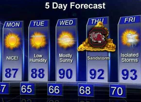 Thursday Forecast: 100% SANDSTORM #GoCocks http://t.co/JnbIa9OsbX