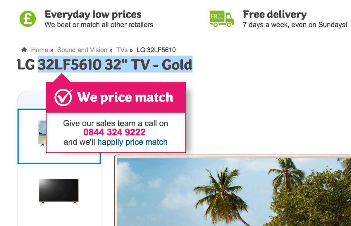 Very clever from http://t.co/rGJCk462Al. As you copy product titles a pop-up promotes price match #ecomchat http://t.co/XzmIDB46bi