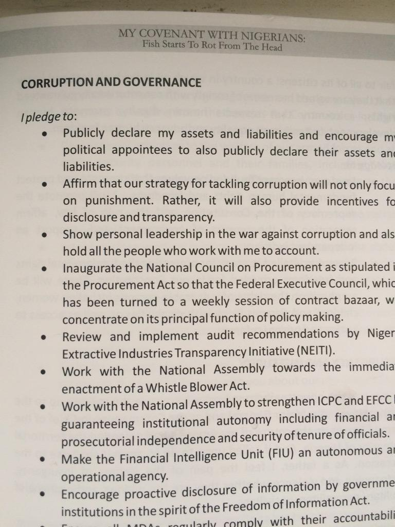CATALOGUE OF FAILED PROMISES – 1st pledge #GMB15 page 1 is to publicly declare his assets & liabilities, encourage political appointees to do same