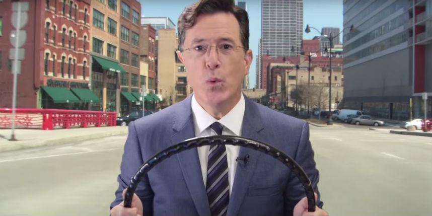 Watch @StephenAtHome take a drive with the help of @Waze as CBS keeps the stunts coming http://t.co/tgWRpigSOc http://t.co/8CNOybDtrJ