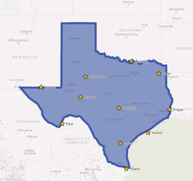 Map Of Texas Vs Europe.Brilliant Maps On Twitter Major European Cities On A Map Of Texas