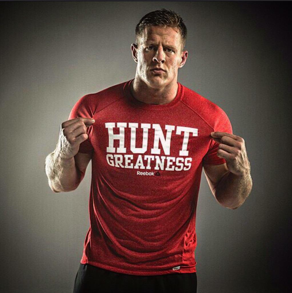 """@JJWatt: Go get yours today. Happy Hunting. #HuntGreatness http://m.reebok .com/us/jj-watt-hunt-greatness-tee/B92471.html …  pic.twitter.com/ZvvhGBhtQd"" I ..."