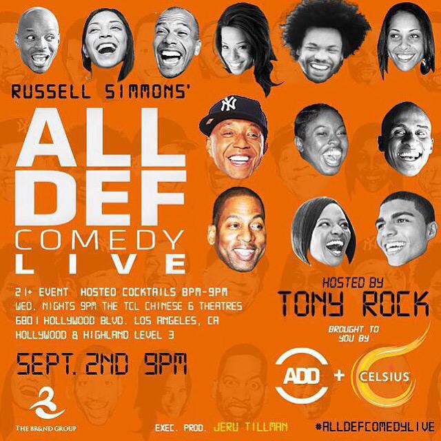 RT @AllDefDigital: Another week, another #AllDefComedyLive with @unclerush @celsiusofficial @thebrandgroupla. http://t.co/wIfaOVaz3Y