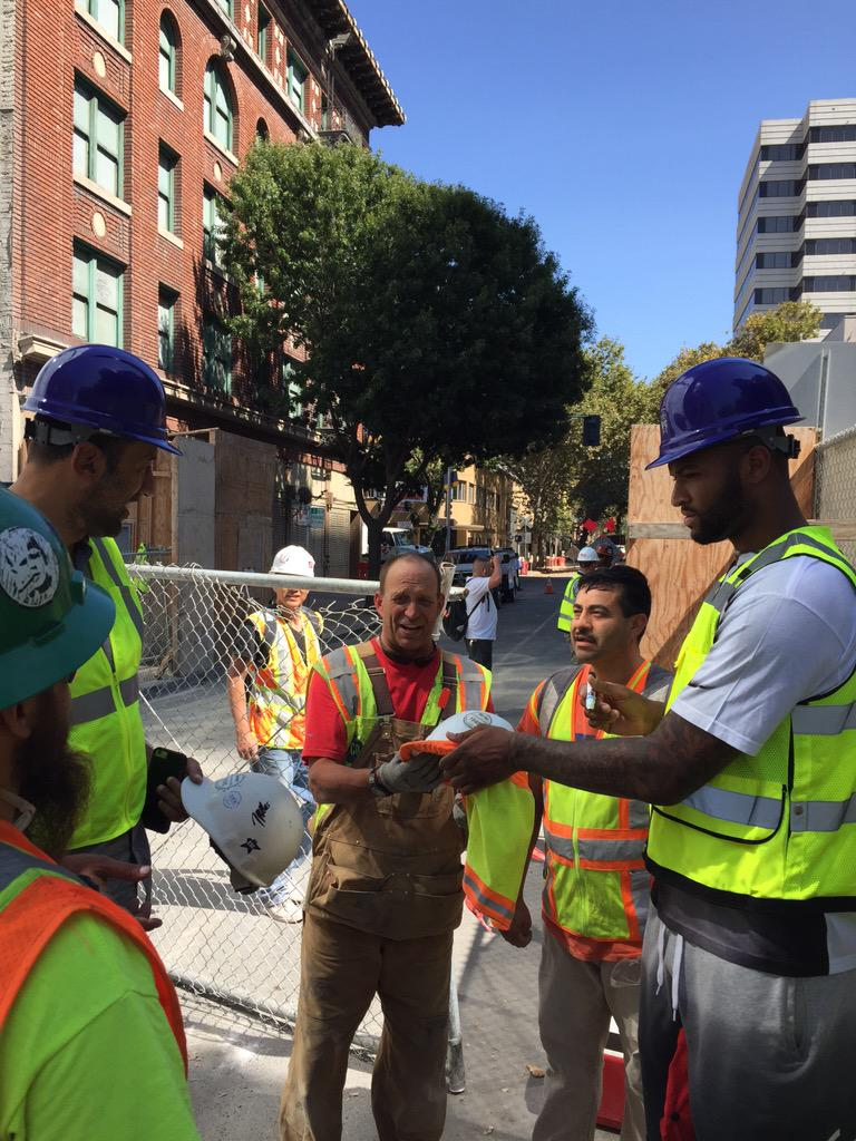 Got to meet workers and tour our future home @Golden1Center today. We appreciate all ur hard work! #SacramentoProud http://t.co/Ovjgts9keQ