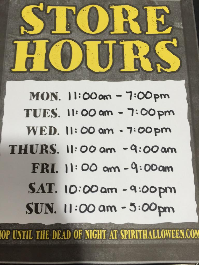 "spirit halloween yql on twitter: ""store hours #yql don't miss out"