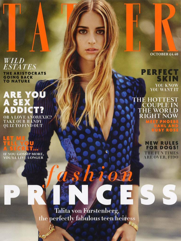 My granddaughter Talita on the cover of Tatler UK in a DVF jumpsuit ! Love Diane http://t.co/bI5PvuVoGK