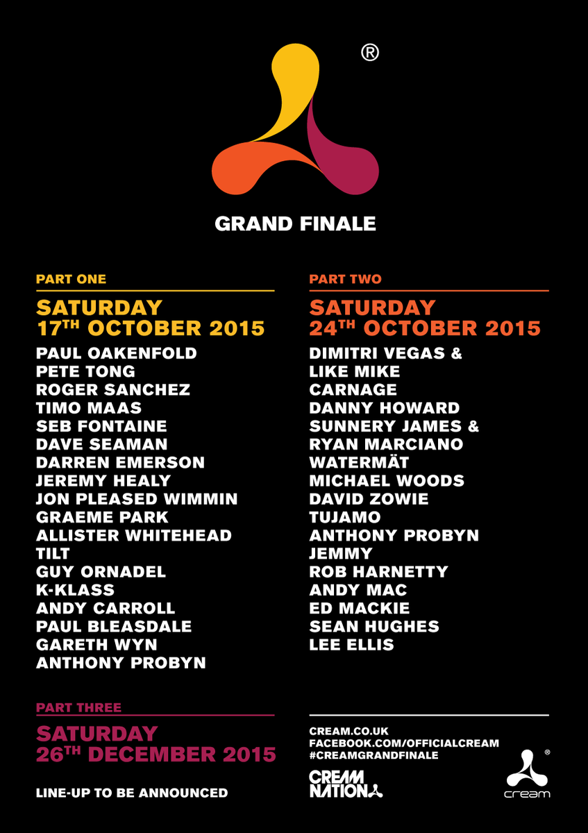 #CreamGrandFinal… LINE UP ANNOUNCEMENT… on sale Fri @ 10am  Pt.1: http://t.co/3ezmww0IVe Pt.2: http://t.co/57zFH4HmTz http://t.co/M5Bql9Ax6Z