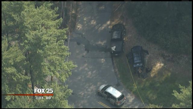 Massachusetts Millis area police cruiser shot