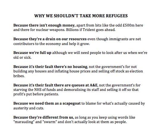 Why we shouldn't take more refugees: a handy guide. http://t.co/jF1rwaLcs4