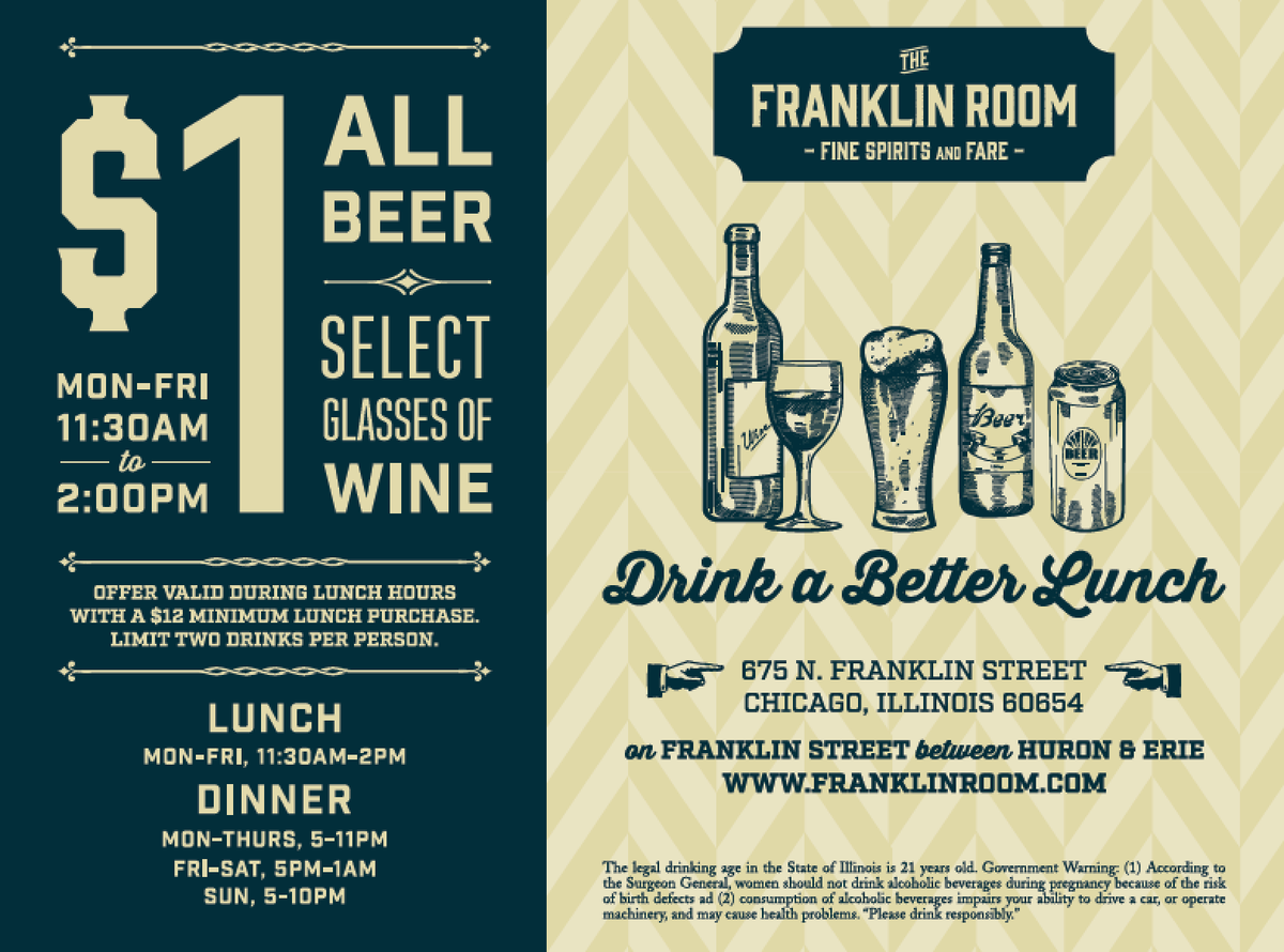 Sister restaurant @DrinkAtFranklin just announced this great drink special! #DrinkABetterLunch http://t.co/Jr3ZkVPaYT
