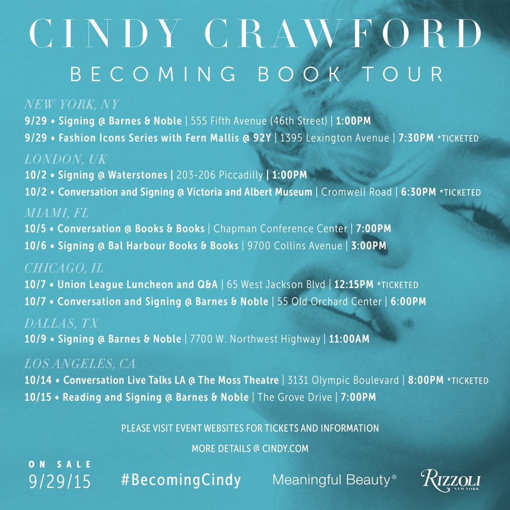 So excited to announce my #BecomingCindy book tour. Hope to see you in one of these cities! http://t.co/Wjy74d8Hu2