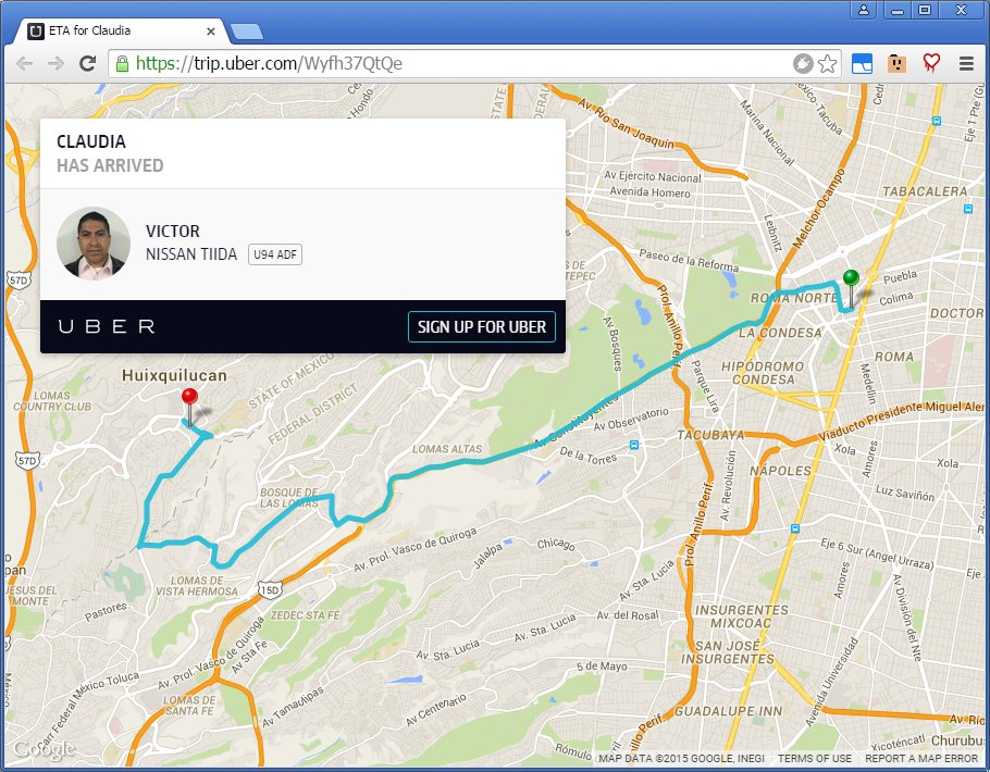 Uber trip information appears in Google search results after riders share their ETA publicly
