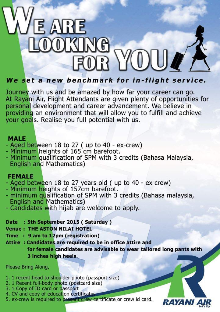 Rayani Air syarikat penerbangan baru di Malaysia mencari calon Cabin Crew mereka.. Anda berminat? http://t.co/xWtMel2kKp