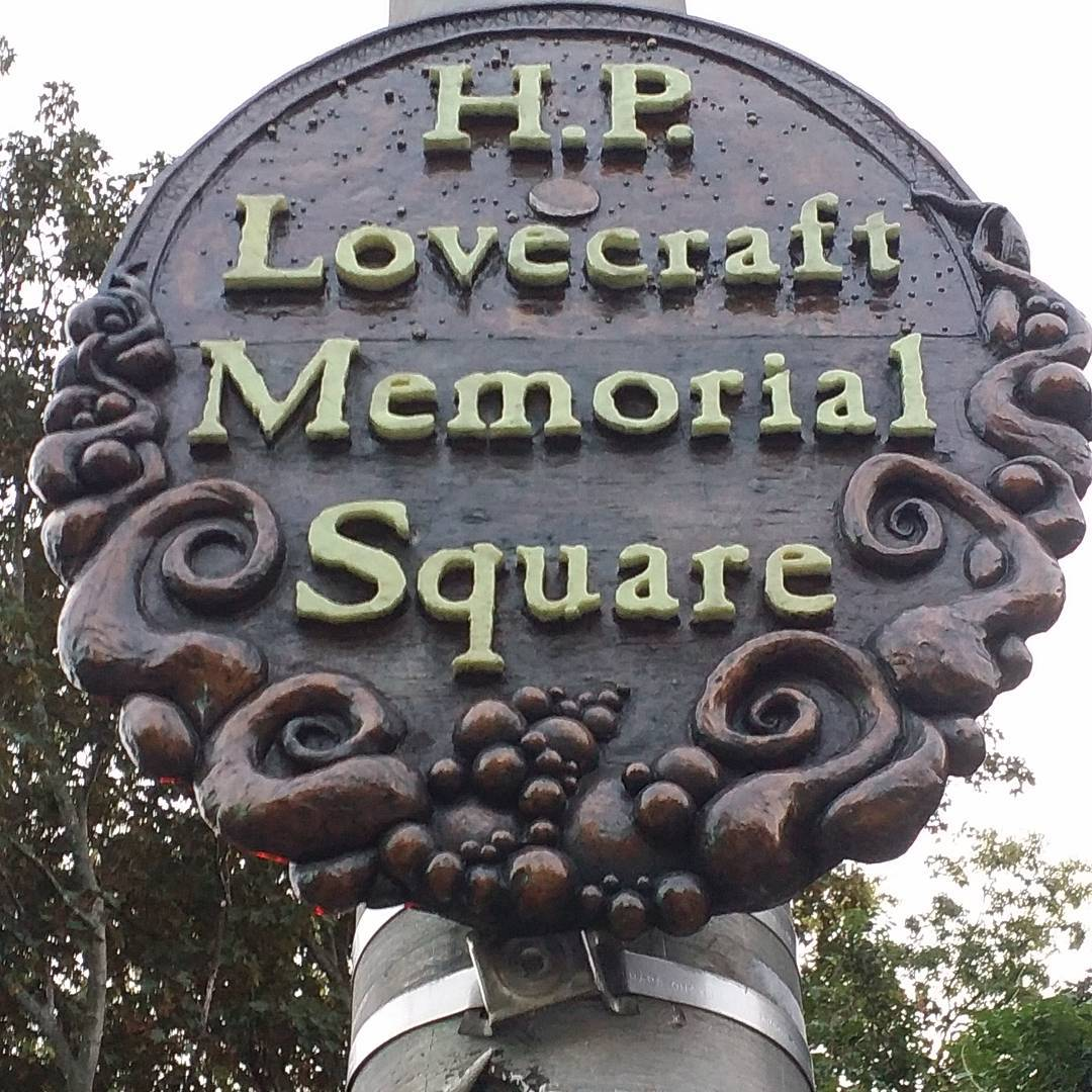 The H.P. Lovecraft Memorial Square in Providence:  #NecronomiConPVD http://t.co/CL3fLHR0MJ