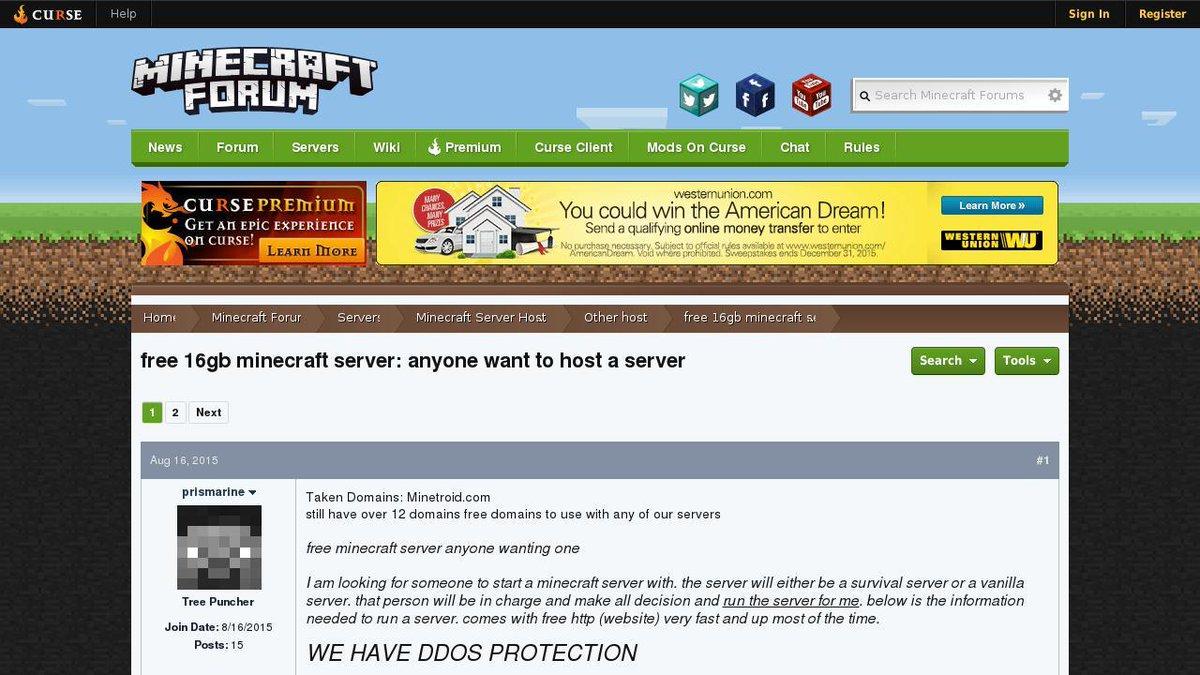 minecraft free server host
