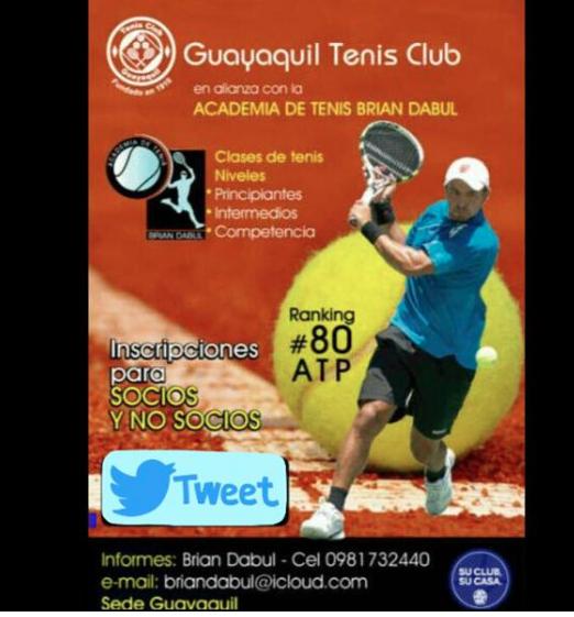 @CarlosVictorM RT x fa Quieres una beca x 1 mes en nuestra Escuela de Tenis en Gye? Debes hacer RT y entras al sorteo http://t.co/Gx3wKuLsPL