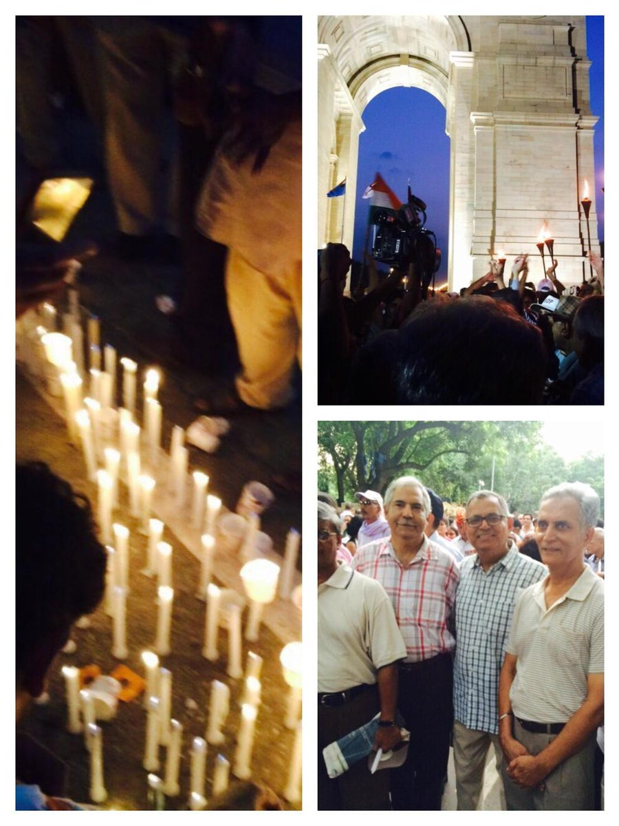 Dad with Comrades of the Defence Services at the #OROP Candle March. Wish I could walk along. #SupportOROP http://t.co/31hZsJHh9p